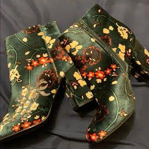 Green velvet Ankle boots